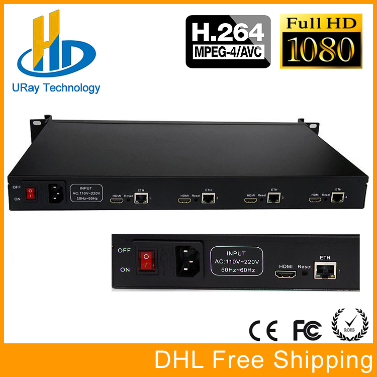 URay 1U Rack 4 Channels H.264 HD HDMI IP Video Streaming Encoder IPTV Support HTTP RTSP RTMP UDP RTMP HLS Multicast http