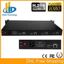 URay 1U Rack de 4 Canais H.264 HD HDMI de Vídeo IP Suporte HTTP RTMP UDP RTMP RTSP HLS Codificador de Streaming de IPTV Multicast