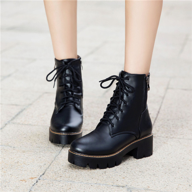 6dd5ee6110c YMECHIC 2018 Autumn Street Lady White Punk Rock Lace Up Platform Chunky  Medium High Heels Ankle Motorcycle Military Boots Shoes