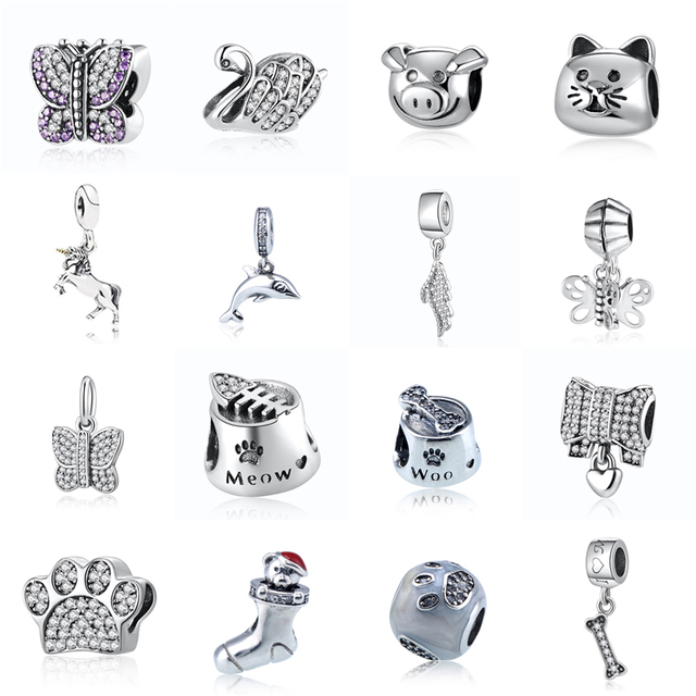 2fc2fc49c Crystal I Love My Dog Bone Pendant Cat Bowl Meow Butterfly Beads Authentic  925 Sterling Silver Charm Fit Pandora Bracelet Bangle