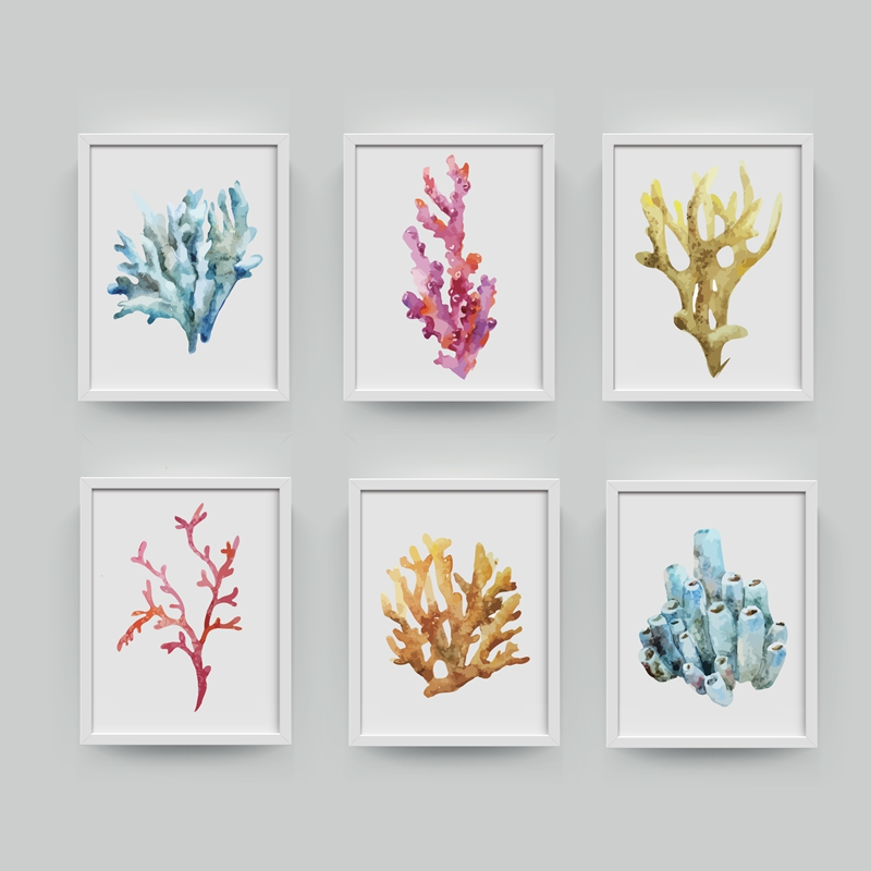 Corals Aer Print Wall Pictures Home Decor Watercolor Cora Print Wall Art Hanging Bathroom Canvas Painting Nautical Decoration