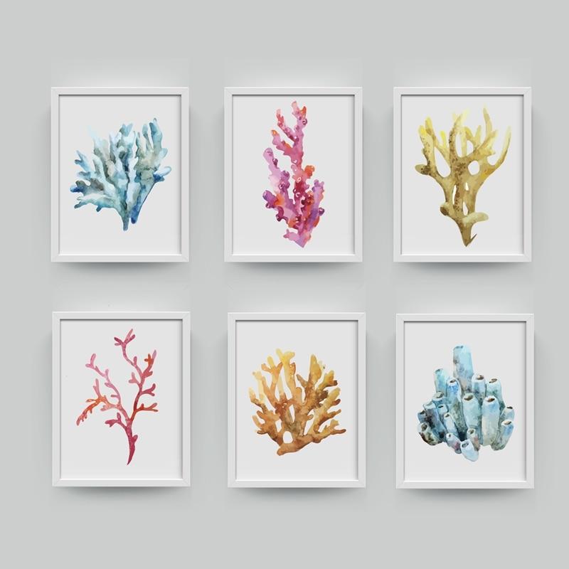 Bathroom Wall Art Canvas Artwork Nautical Coral Reef Ocean: Corals Art Print Wall Pictures Home Decor , Watercolor