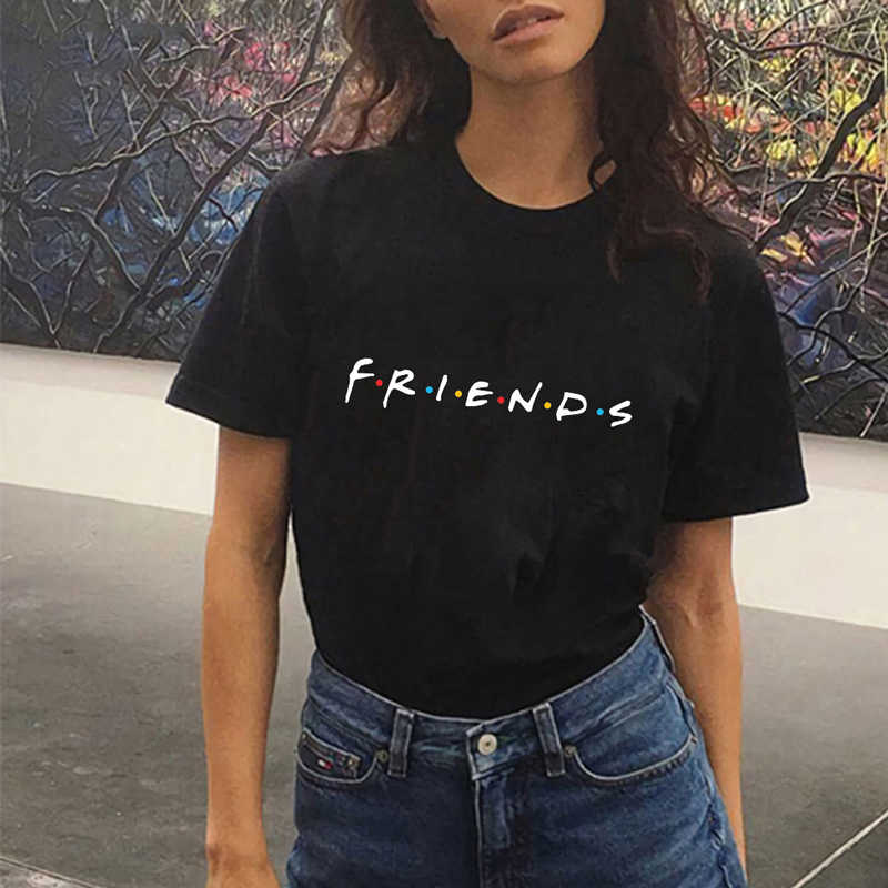 Fashion Summer Lady Top Friends TV Funny Casual Streetwear Ladies Tee Black Vogue Tumblr T-Shirt Women Clothes 2019 Plus Size