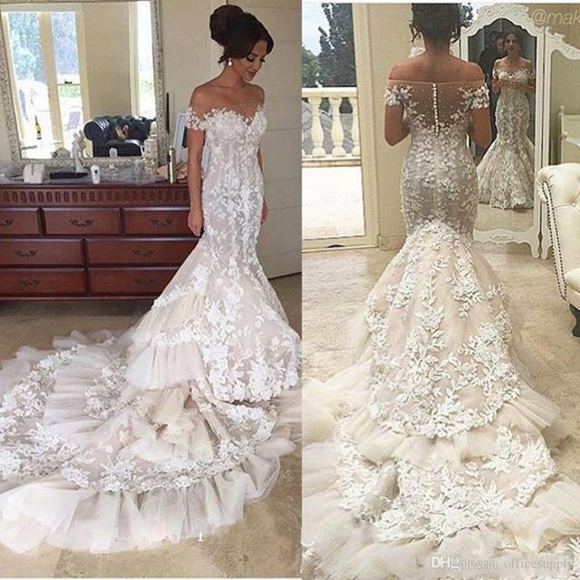 391b2bf13681 Off Shoulder Lace Mermaid Wedding Dresses 2017 Appliques Sheer Backless  Tiered Skirts Ruffles Tulle Chapel Train Bridal Gowns