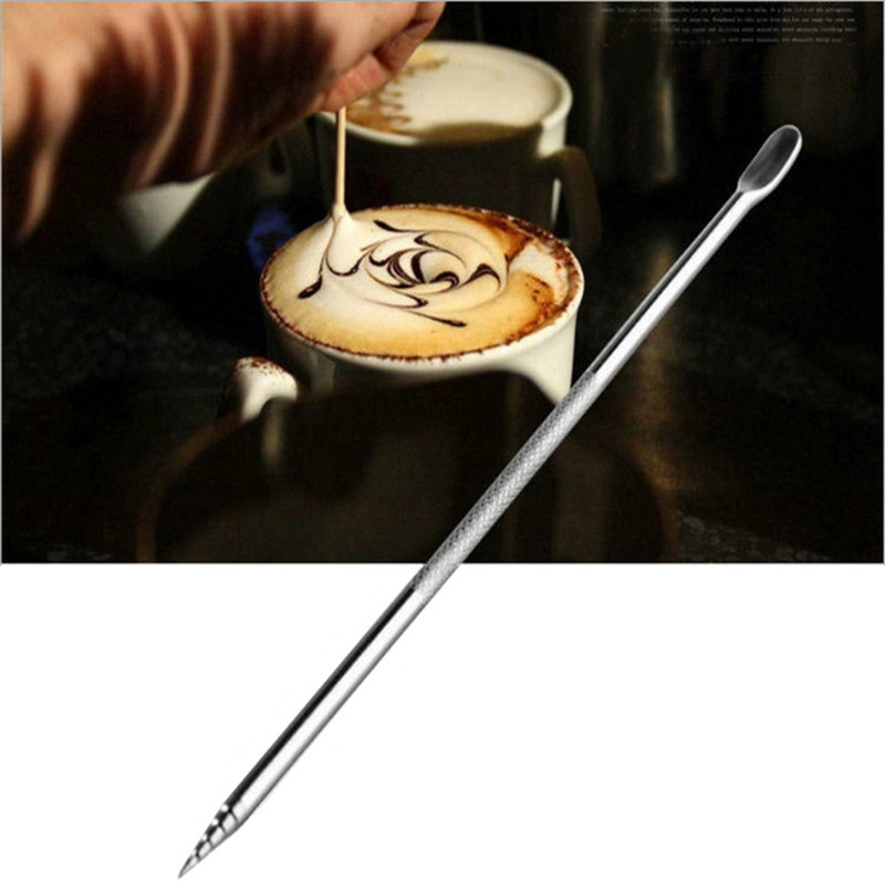 Stainless Steel Coffee Latte Foam Art Pen Needle DIY Cake Dessert Carving Decorating Tools Coffee Pen Coffeeware