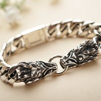 silver jewelry wholesale 925 sterling silver jewelry chain new men's domineering leading flat bracelet xh043555w