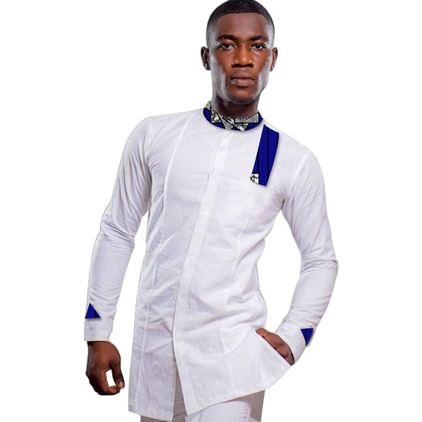 Moška afriška majica s potiskom ovratnik vrhovi majice dashiki moška majica Ankara trendi patchwork Afrika oblačila za moške