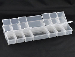 Doreen Box Plastic Beads Organizer Container Storage Box Rectangle 24.5cm x 11cm,1 PC(14 Compartments) 2017 new