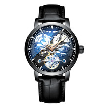 2019 New AILANG Brand Fashion Leather Gold Watch Men Automatic Mechanical Skeleton Waterproof Watches Relogio Masculino Box relogio masculino 2016 ailang men s luxury brand military mechanical watches leather hollow skeleton watch relojes hombre