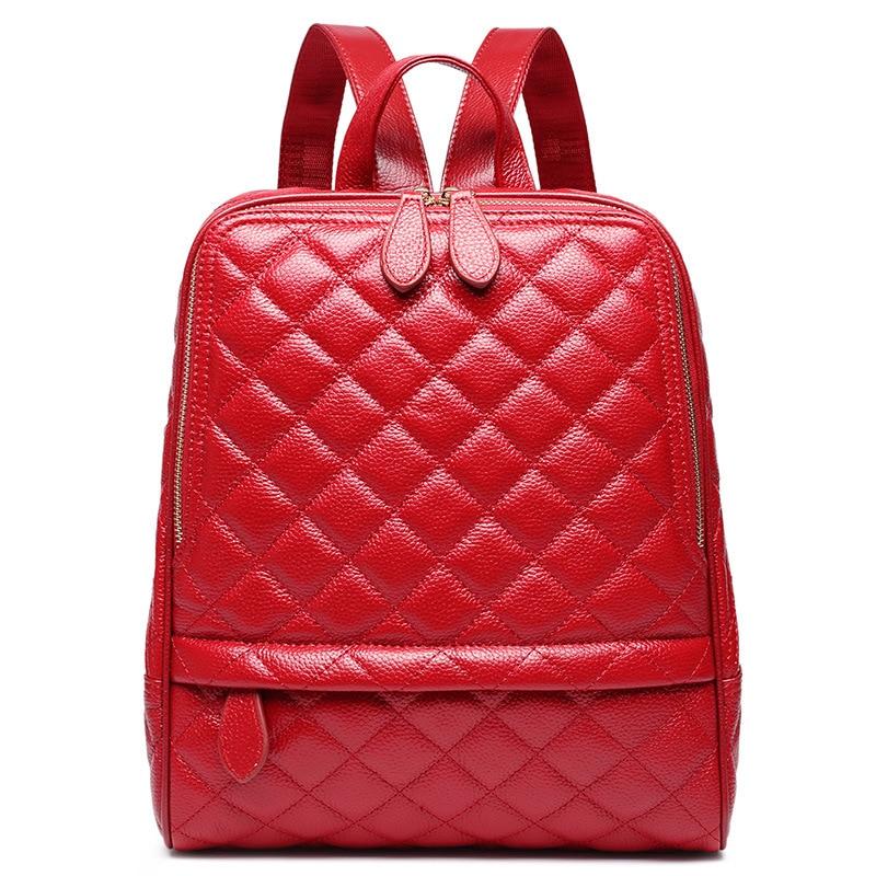 Women Backpack Madonno Brand Fashion Split Leather Women Solid Color Shoulder Bag School Bag TBG036 stylish women s solid color pleated culotte