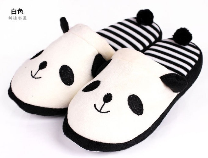 Soft Velvet Cute Panda Floor Indoor House Slippers Autumn And Winter Anti-Skid Comfortable Slippers Women Shoes