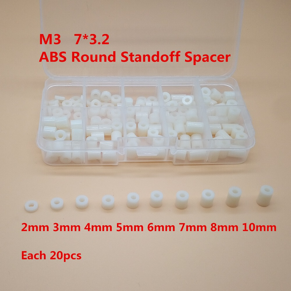 цена на 140pcs/lot M3*L(L=2/3/4/5/6/7/8/10mm ) ABS Nylon Round Standoff Spacer, PCB board spacer OD(7MM) X ID(3.2mm)*L