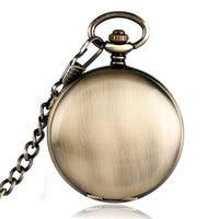 Vintage Simple Smooth Pocket Watch Chain Steampunk Roman Numbers Mechanical Self Winding Reloj Bolsillo Clock Men