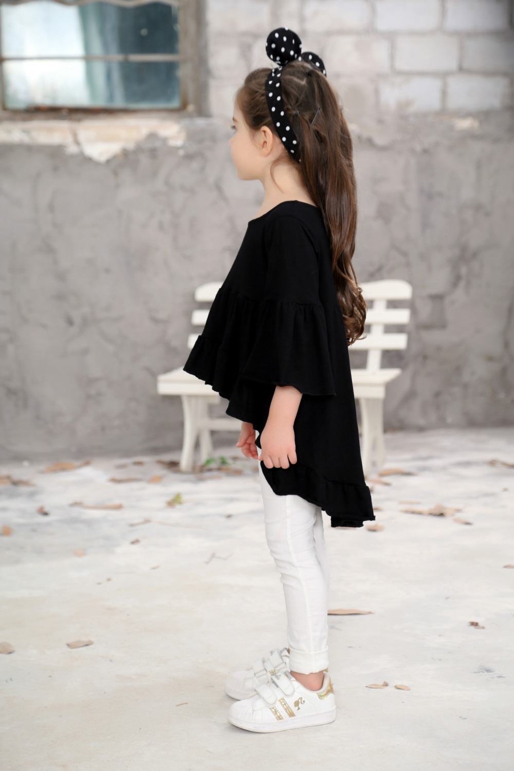 Hot Loose White Red Black Girls T Shirt Ruffle Sleeves Cotton Children Beach Kids Tees Tops Baby Girl Clothes Beautiful In Jackets Coats From