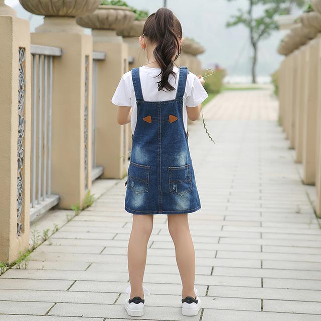 2019 Fashion Girls Denim Sling Dress Baby Birthday Dress Girls Clothes 3-10 yrs Kids Jeans Vestidos Children's Costume Clothing