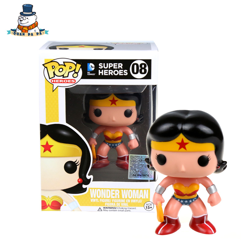QuanPaPa New Genuine FunKo POP WONDER WOMAN 08 Model Action Figurine doll car Decoration kids