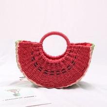 Summer Women Rattan Beach Bags Cute Watermelon Shaped Straw Semicircle Moon Handbags Bohemian Knitting 2019