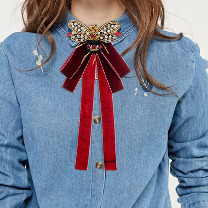 ZHINI New Arrival Vintage Ribbon Big Bow Brooches Pins With Bee For Women Butterfly Bow Brooch Tie Clothing Accessory Wholesale цена 2017