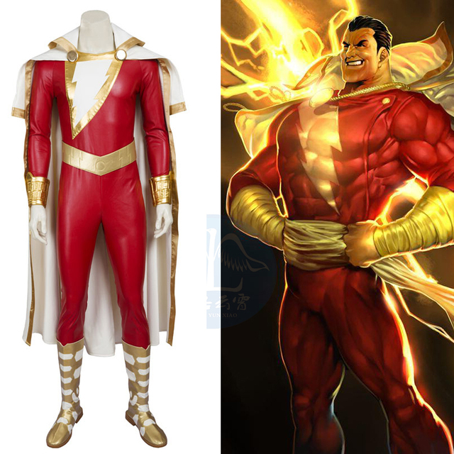 Hero Catcher High Quality Costumes For Adult Captain Marvel Cosplay Costume Superhero Shazam Custom