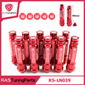 M12X1.5 20 Pcs 326 Power Racing Red Alloy Aluminum 90MM Wheel Lug Nut With Crown Caps RS-LN039