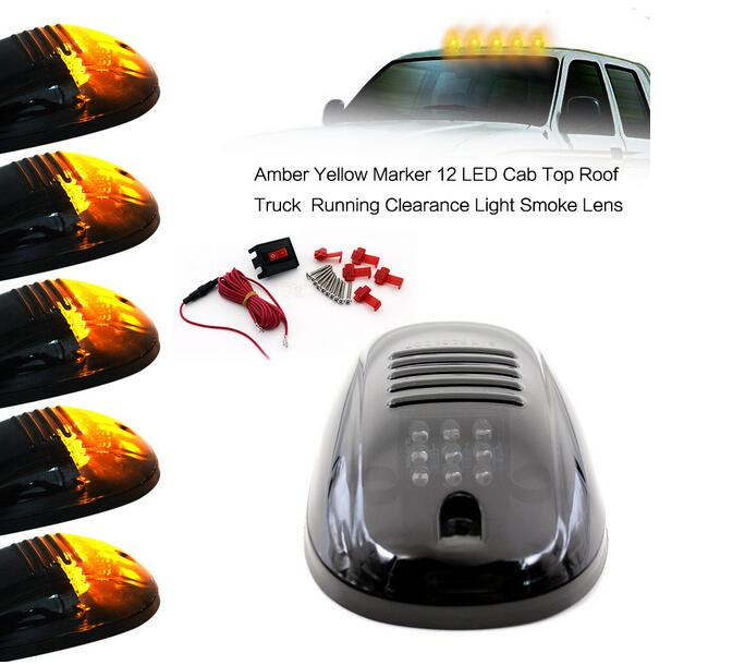 Smoke 5pcs 9-LED Cab Roof Running Marker Amber Lights For Truck SUV Off Road