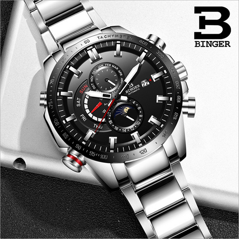 Cool Sports Designer Multi Functional Heavy Steel Mens Watches Mechanical Self-winding Calendar Watch Moon Phase Analog MontreCool Sports Designer Multi Functional Heavy Steel Mens Watches Mechanical Self-winding Calendar Watch Moon Phase Analog Montre