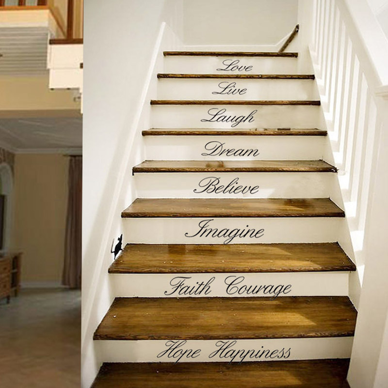 Home Love Live Stairs Decor Wall Sticker Pop Art Quote Lovely Home | Pop Design For Stairs Wall | Frame Up | Main Entrance | Wall Paper | Entry Wall | Luxury