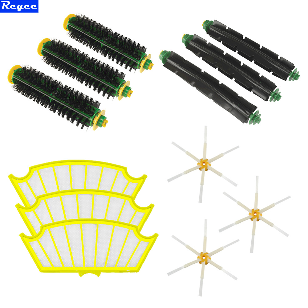 Total 12Pcs Filters & Brush Pack Mega Kit for iRobot Roomba 500 Series 6-armed Side Brush Bristle Flexible Beater Free Post 25x29x1 merv 12 ac furnace filters qty 6
