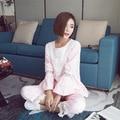 2016 Otoño Estilo Coreano 100% Algodón Pijama Casa Ropa de Encaje Pijama Feminino femme Soft Pijamas Mujer Ropa Interior