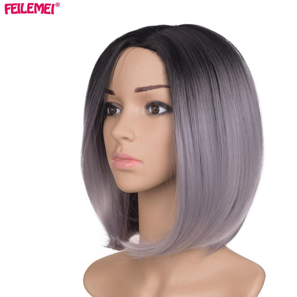 Feilimei cap plin Ombre gri peruca negru femeie scurtă dreaptă gradient 160 g colorate de căldură rezistent sintetic păr cosplay peruci