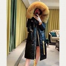 Women Genuine Leather Coats Big Fox Fur Collar 2018 Fashion Autunm Winter Lady Hooded windbreaker Sheepskin Jackets Black
