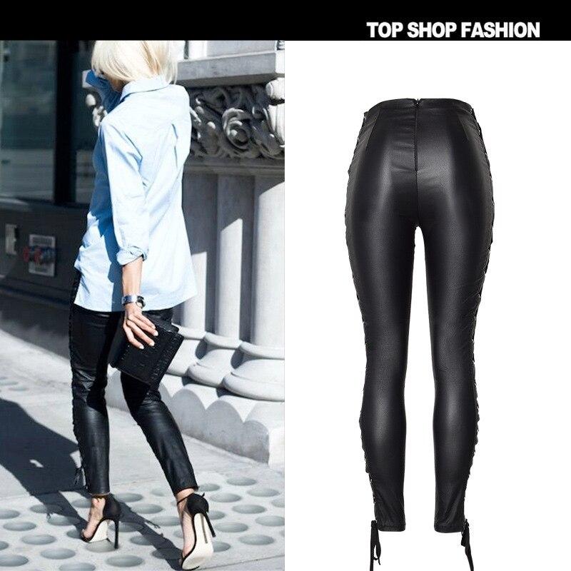 Pantalones Cuero Pu Ambos Cintura Lados De En Alta Gran Mostrar Delgada Nuevo La Pies Elástico Beige Imitación Cinturón Vaquero ROvZYa