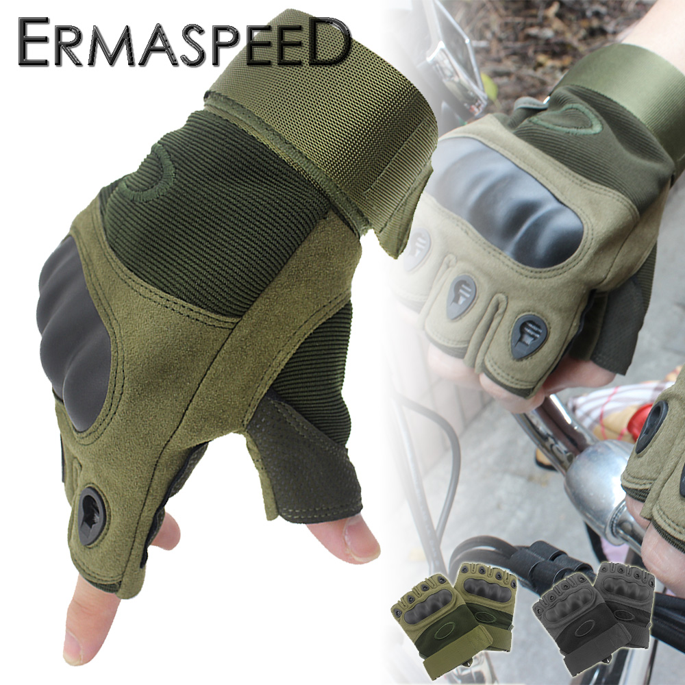 Pair Motorcycle Gloves Men Half Fingers PU Leather Nylon Spring Summer Outdoor Sport Racing Travelling Wearable Tactical Guantes