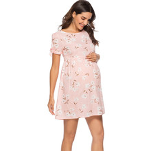 424d6aed1d7 MUQGEW vetement femme Cotton Short Sleeve Maternity Dress