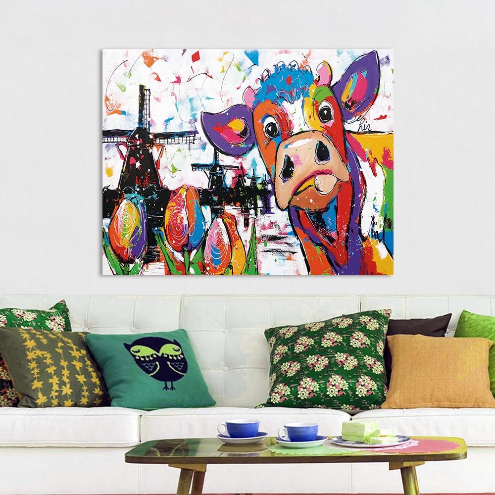 HDARTISAN Vrolijk Schilderij Wall Art Holland Cow Canvas Painting Animal Picture Prints Home Decor No Frame