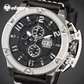 INFANTRY Aviateur Watches Men Multi-function Sliver Steel Case Swim Quartz Watch Relojes Waterproof Leather Male Day Date Clocks