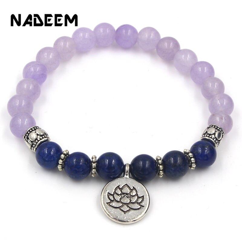 abd8bcc05666 Nuevo púrpura Quartzs y lapislázuli de Buda de piedra Ohm loto colgante  encanto pulsera de muñeca para los hombres y las mujeres es budista Yoga  Mala ...