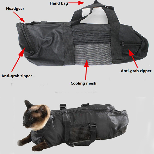 Heavy Duty Mesh Cat Grooming Bathing Restraint Bag No Scratching For Claw Nail T Injecting Examin
