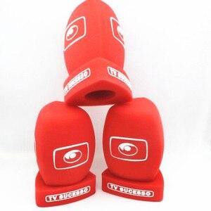 Image 5 - linhuipad 4CM diametre customization LOGO Red Interview Microphone foam Windscreen Handheld windshield Video Camera Condenser