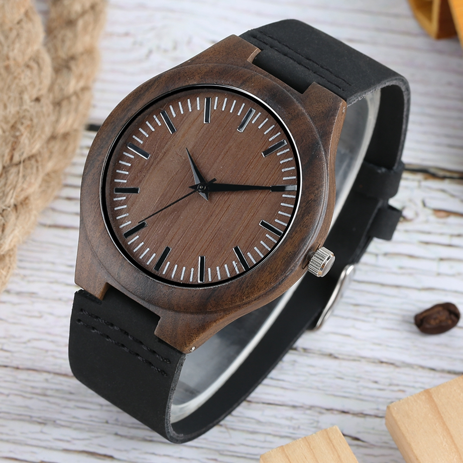 Men Wooden Watches Retro Ebony Wood Case Green Dial Handmade Engraved Scale Casual Military Sports Clock Man Quartz Wrist Watch 2020 2019 2018 (17)