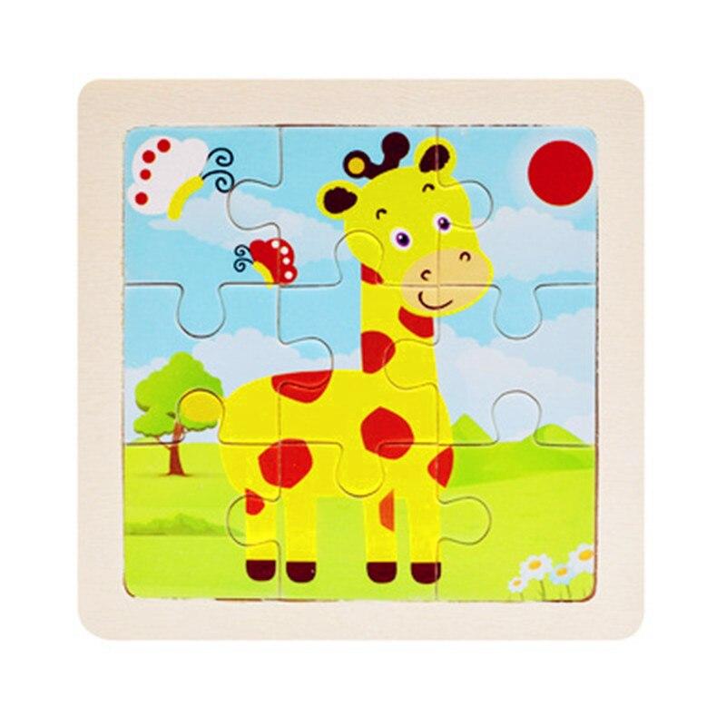 Мини Размер 11*11 см детская игрушка деревянная головоломка деревянная 3D головоломка для детей Детские Мультяшные животные/дорожные Пазлы обучающая игрушка - Цвет: Светло-желтый