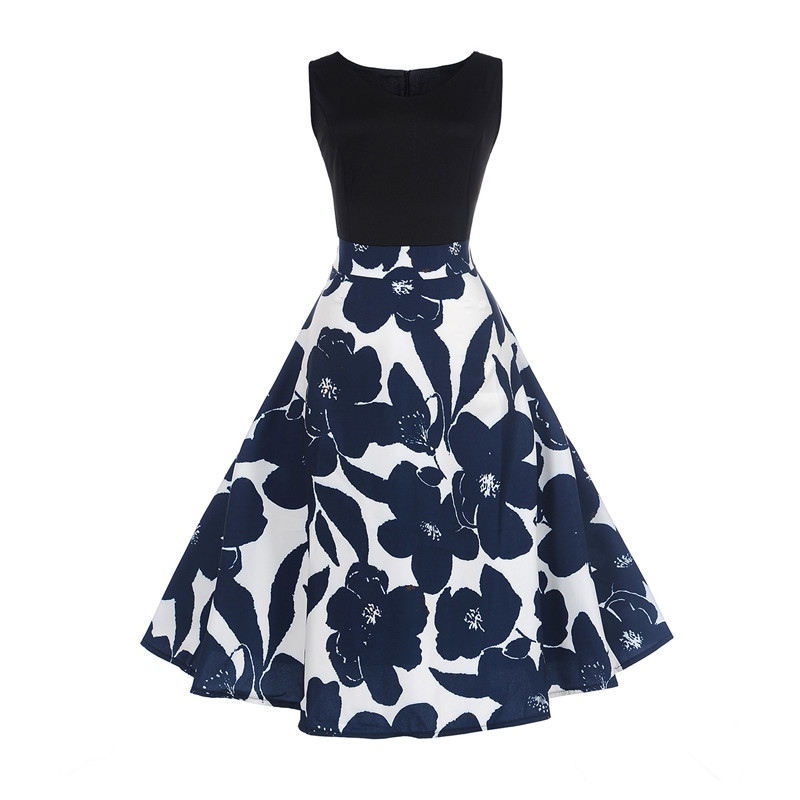 MoYan <font><b>Vintage</b></font> floral print <font><b>dress</b></font> women sleeveless <font><b>1950s</b></font> style <font><b>dresses</b></font> Retro 50s <font><b>60s</b></font> Dresse image