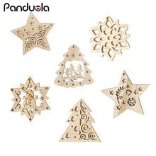 10PCS New Christmas Snowflakes&Deer&Tree Wooden Pendant Ornaments For Party Xmas Tree Kids Gifts Decorations