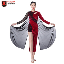 Sexy 2018 Belly Dance Costumes Flannelette Lace Long Sleeves Dress Women Autumn Winter Practice Club Stage