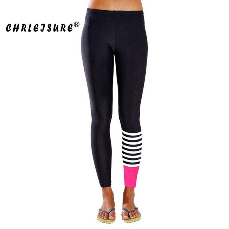 CHRLEISURE 2 Styles Stripes Print Leggings Women Color Patchwork Workout Legins Trendy Elasticity Streetwear Fitness Leggings