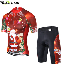 Shirts Cycling-Jersey-Set Weimostar Short-Sleeve Biking Santa-Claus Women Padded Christmas-Tree