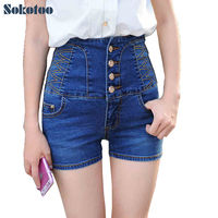 Women S Summer Casual High Waist Buttons Stretch Denim Shorts Lady S Plus Large Size Slim