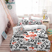 Letter Print Bedding Set LOVE Heart Duvet Cover Girls Romantic King Queen Pillowcase Sweet Bedclothes D20