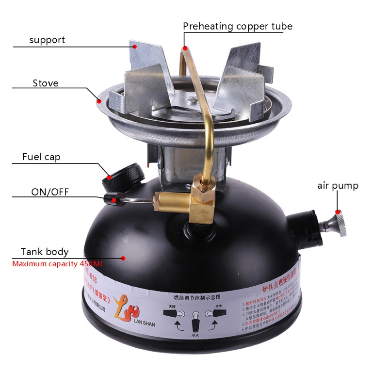 2018 Mini Liquid Fuel Camping Gasoline Stove And Portable Outdoor Camping Kerosene Stove Burner earth star outdoor camping stove regulator valve with elbow and nozzle 0 3mm length 45cm