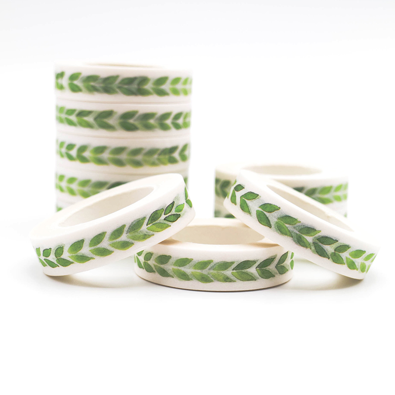 10m*10mm Creative Green Leaves Washi Masking Tape Sticky Paper Scrapbook DIY Office Stationery Decorative Adhesive Tape 1 PCS